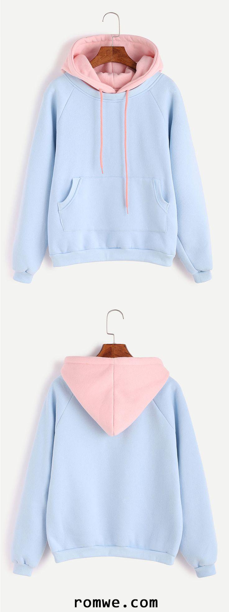 Light Blue Raglan Sleeve Contrast Hood 2 In 1 Sweatshirt