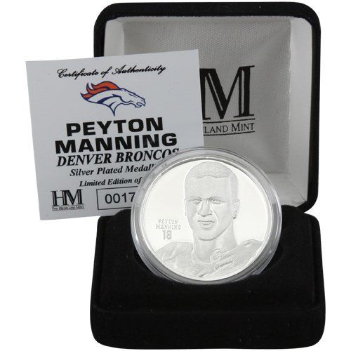 """NFL Peyton Manning Denver Broncos Player Silver Coin by Football Fanatics. $19.95. Peyton Manning Denver Broncos Player Silver CoinVelour jewelry boxLimited edition collectibleOfficially licensed Broncos collectible medallionCoin measures approximately 1 3/4"""" in diamterSilver-plated medallionAcrylic coverSilver-plated medallionAcrylic coverCoin measures approximately 1 3/4"""" in diamterVelour jewelry boxLimited edition collectibleOfficially licensed Broncos collect..."""