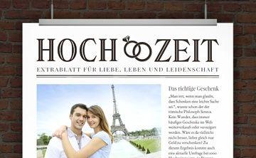 Hochzeitseinladung im Zeitungsstil