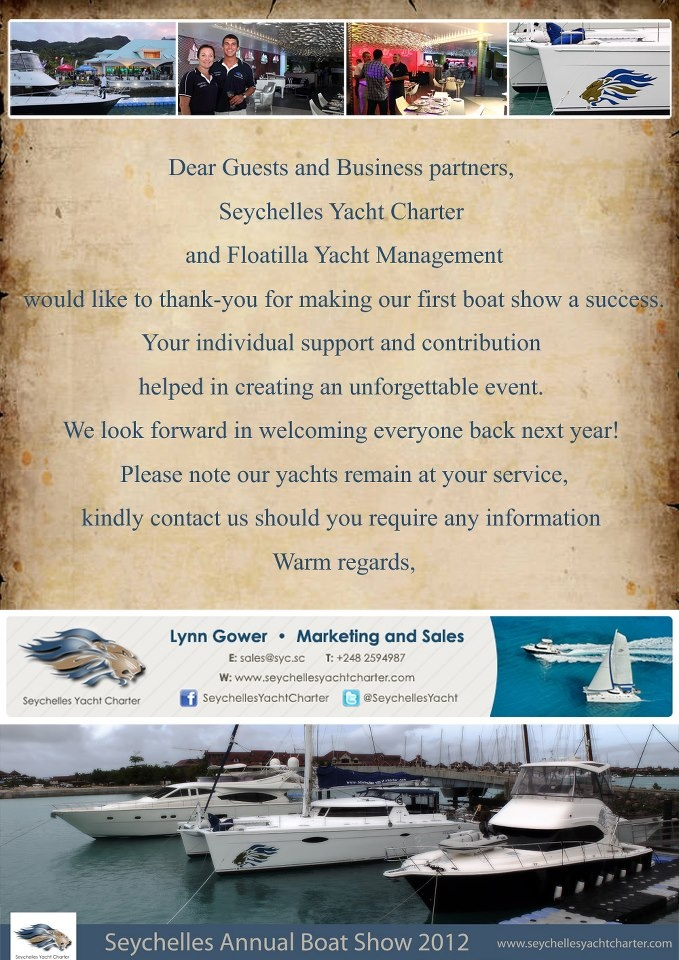 Thank You Card for Seychelles Yacht Charter Annual Boat Show 2012. . .