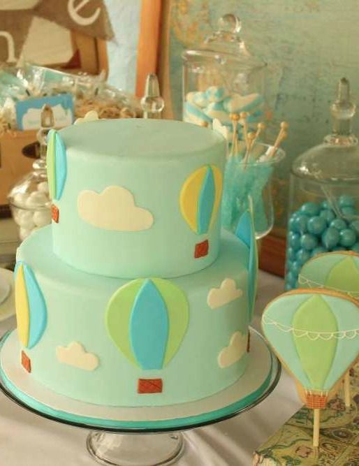 Hot Air Balloon Birthday Party cake! See more party planning ideas at CatchMyParty.com!