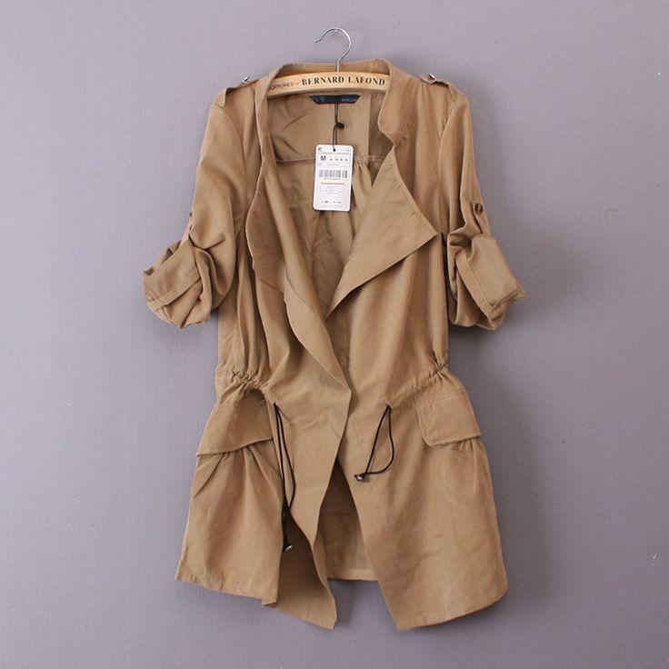 Dış Ticaret 2015 İlkbahar ve Yaz Kadın Kore vücut dekorasyon uzun paragraf uzun kollu ceket şeftali kat Kızlar takoz olabilir - Taobao