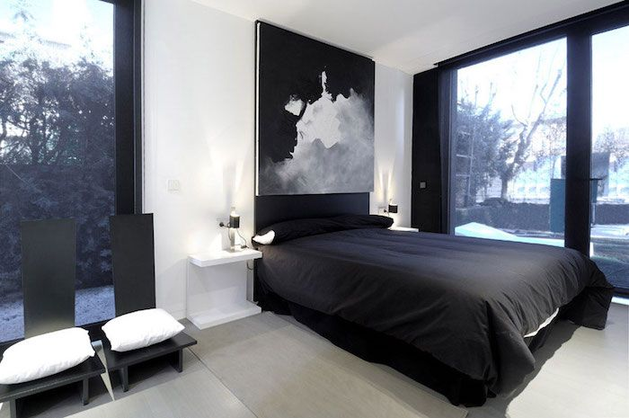 Black And White Bedroom Design With White Walls Two Black Chairs With White Cushions Black Bed And Black And Grey Bedroom Grey Bedroom Design Small Bedroom