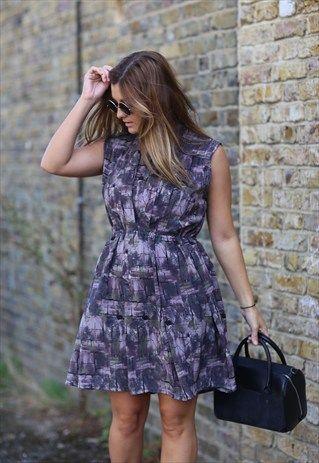 Vintage+80s+Purple+Graphic+Print+Mini+Dress
