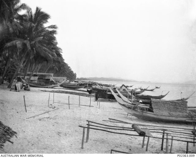 Bachok Beach, Kota Bharu, Malaya. 1941-07. Local fishing boats (perahu) pulled up on the beach, possibly at one of the points where the Japanese invasion troops landed on 1941-12