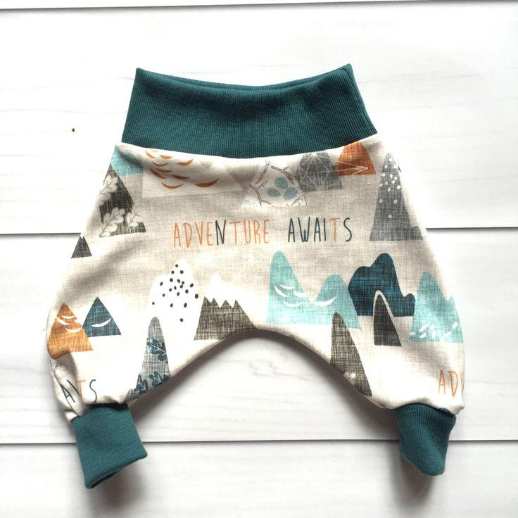 Modern Baby Harem Pants, Baby lounge pant, baby MC hammer pant, baby comfy pants, adventure awaits harem pants by HazelandHolly on Etsy https://www.etsy.com/listing/386199576/modern-baby-harem-pants-baby-lounge-pant