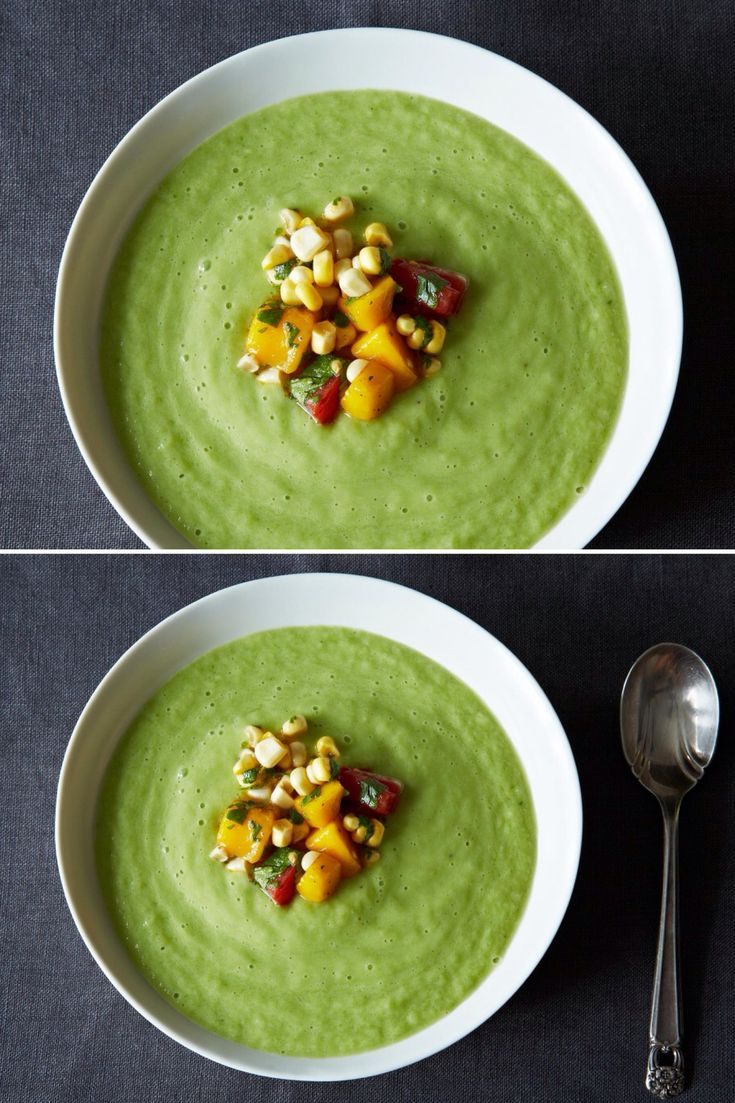Chilled Cucumber and Avocado Soup with Mango Salsa - This is one of my favorite cold soups for the summer. If cucumber's not your thing, you can prepare this soup with zucchini, tomato, celery, or a combination of all of those vegetables. Avocado is a perfect base for an easy soup like this, and it will give you a canvas that is endlessly adaptable. Minus the cilantro, I don't like cilantro :)