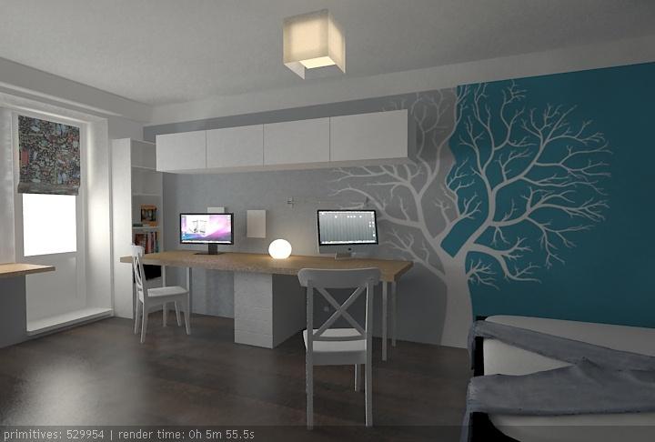 Деление на зоны оформлением стен + длинный стол на два компа