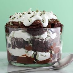 Irish Creme Chocolate Trifle Recipe -I was given a bottle of Irish cream liqueur as a gift and had leftover peppermint candy, so I created this delicious trifle. It's always rich and decadent. —Margaret Wilson, Sun City, CA