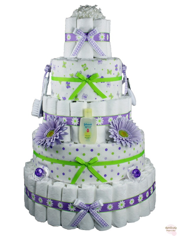 "Our Prissy Missy Diaper Cake is the perfect compliment to a purple and lime green baby shower or nursery theme.  With 165 diapers and the optional plush monkey on top (see last picture above), the new mommy will go bananas for this diaper cake!  You can't ""miss"" with this gift!  http://www.rattlecake.com/diaper-cakes/prissy-missy-monkey-diaper-cake-5-tier.html  $165"