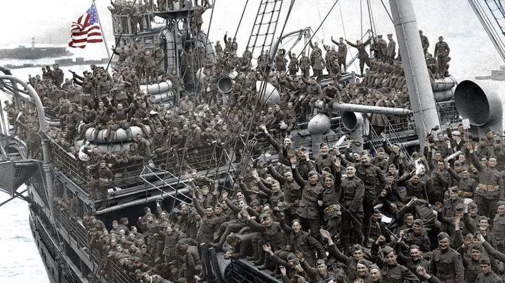 Foto: Soldados americanos se dirigen a Europa en la primera guerra mundial