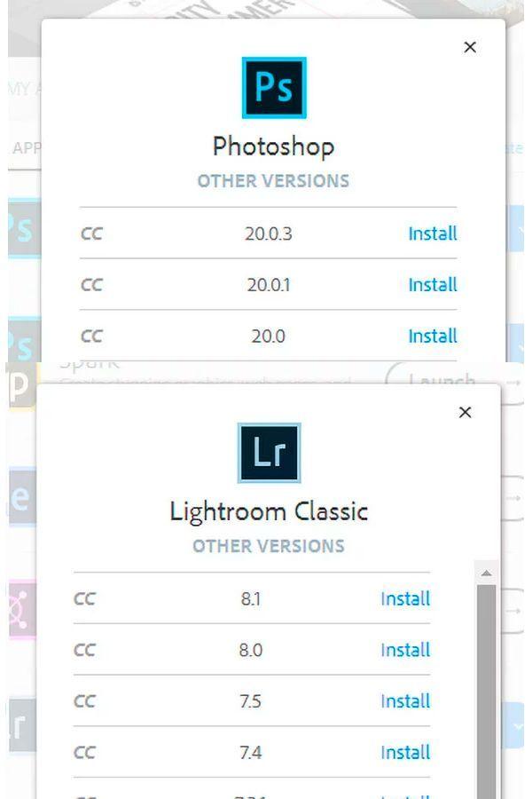 Creative cloud install older versions
