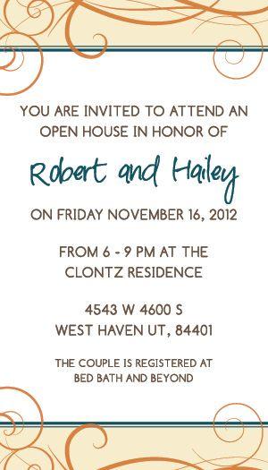 Wedding Invitation Wording Hailey And Robert Open House Wedding