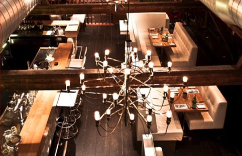 Button Tufted White Leather Seating & Oak Tabletops Restaurant - Design Beers Brickworks