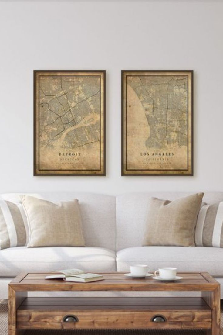 A Stunning Vintage Style Map Of Detroit This Poster Looks