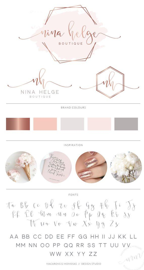 Hexagon Event Logo, Watercolor Logo Design, Rose Gold Logo , Branding kit, Calligraphy, Branding Pac