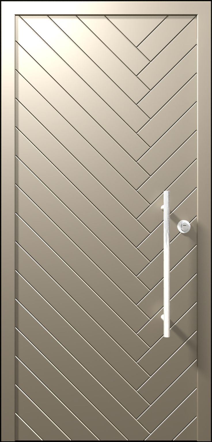 The Dagan Door design is inspired by the flow lines of the wheat.  The door has diagonal lines which make it look dynamic, but the unified and glossy finish creates a quiet look that matches the houses designed in a youthful contemporary spirit.