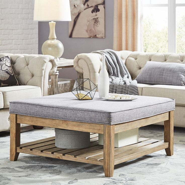 HomeVance Upholstered Coffee Table, Beig/Green (Beig/Khaki)