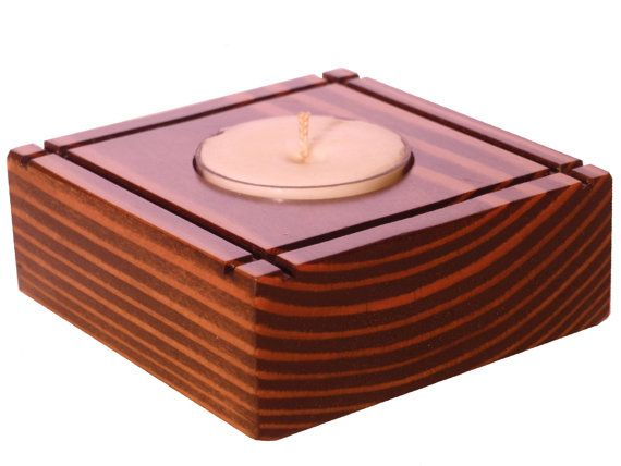 Wooden Tea Light Holder - Wooden Candle Holder - Wood Tealight Candle Holder…