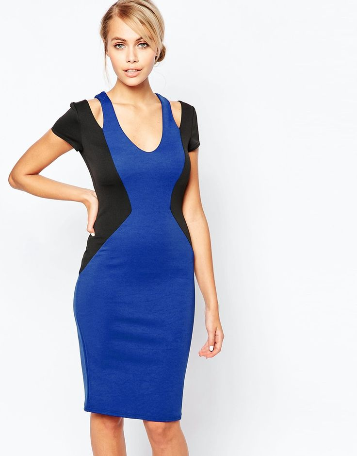 City Goddess Contrast Midi Dress with Cut Out Shoulder Detail