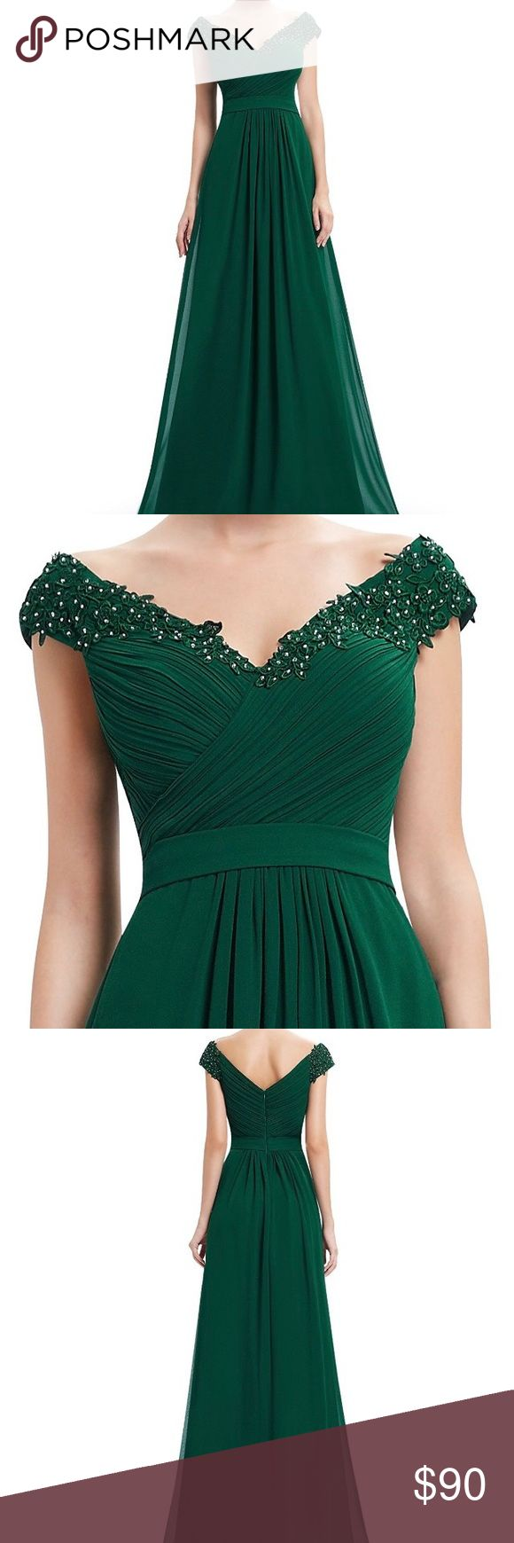 Ever Pretty Green Off The Shoulder Dress Never worn and has original tags. Pretty forest green. Accurate to size chart provided. Material and beading are very nice. Ever Pretty Dresses Prom