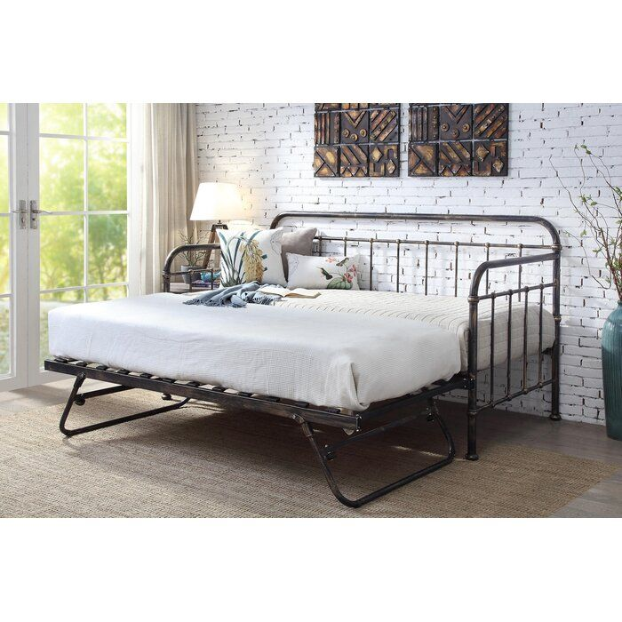 Mitre Hospital Style Metal Daybed With Trundle And Mattress In