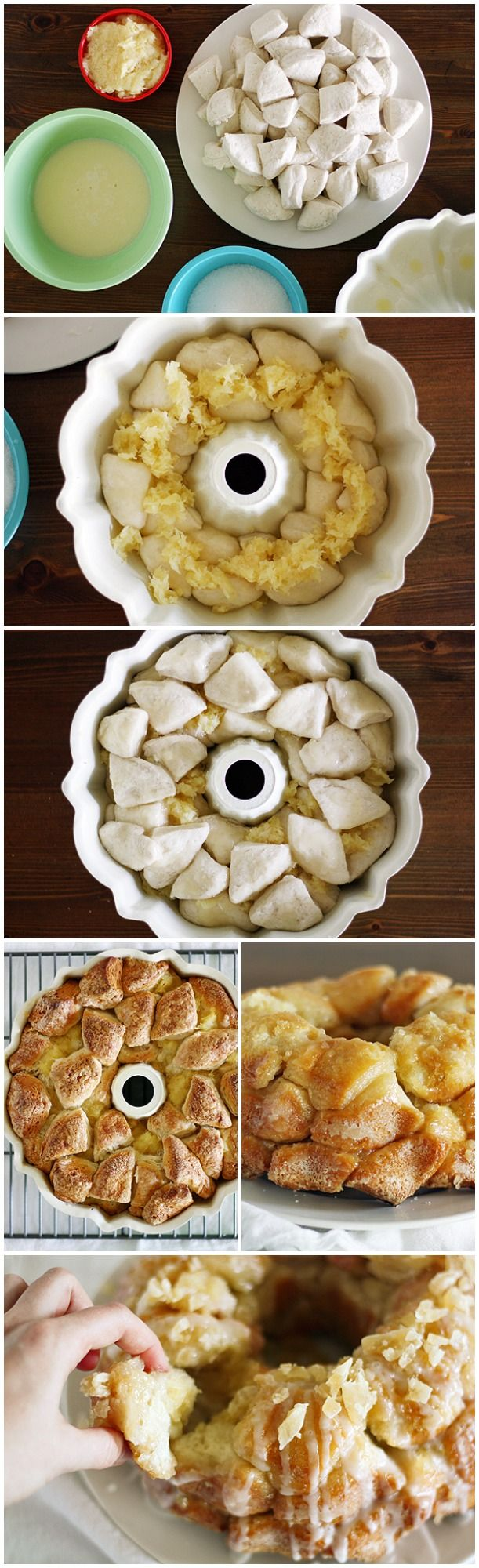 Piña Colada Monkey Bread - One of those easy delicious desserts that look like you spent all day in the kitchen. Those little white triangles are cut up Pillsbury Grands Biscuit dough!