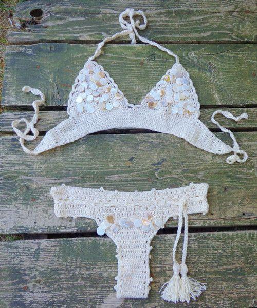 Swimwear – Wedding Crochet Seashell Bikini,Bottom,Ivory. – a unique product by takkabeachwear on DaWanda