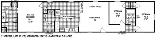 single wide mobile home floor plan 713CT