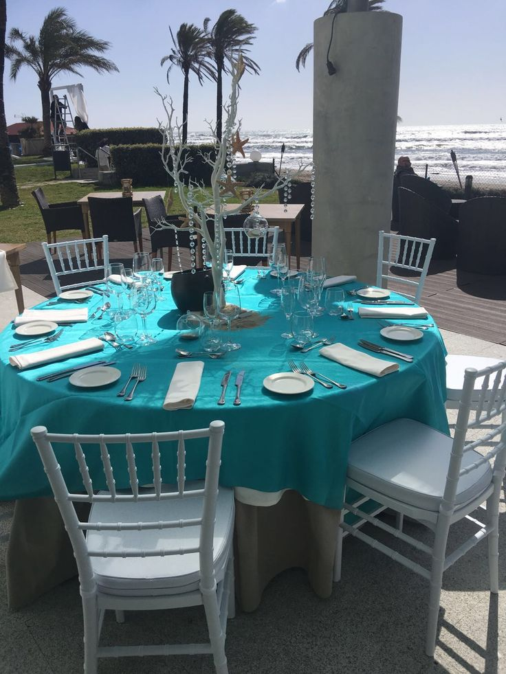 Wedding table set up for wedding reception at Estella Del Mar Beach Club Marbella