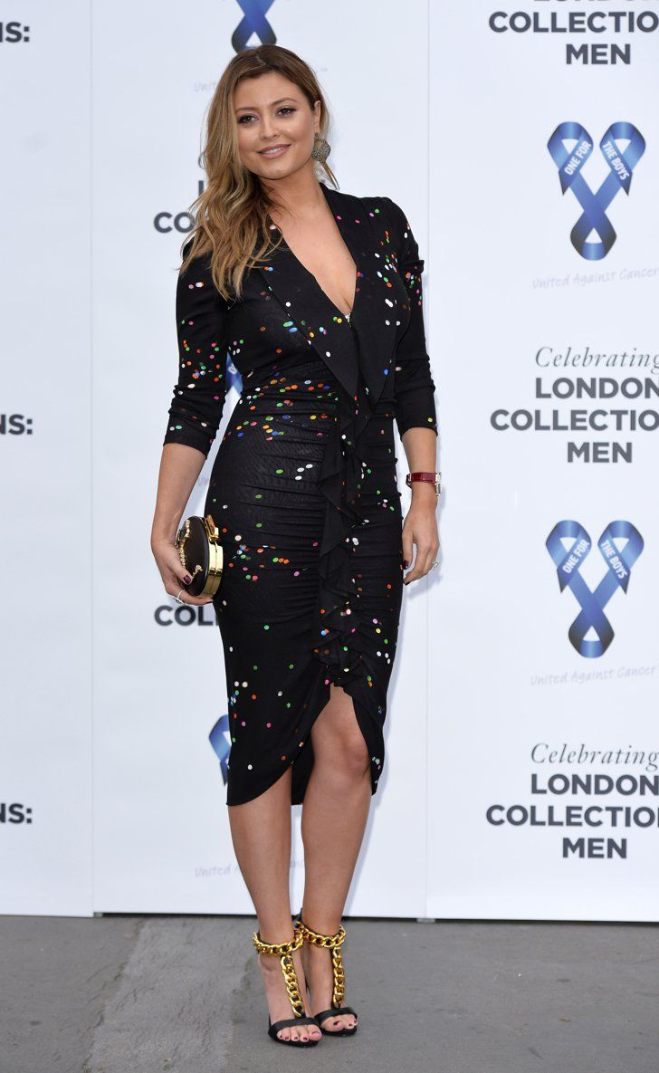 Pin for Later: Ladies Lead the Way Front Row at the London Menswear Shows Holly Candy Holly slipped into a ruffled, speckled dress to attend the One For the Boys Charity Ball.