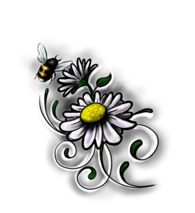 daisy and bee tatoo | Flower Tattoos: bee daisy 2 | Flower Tattoo