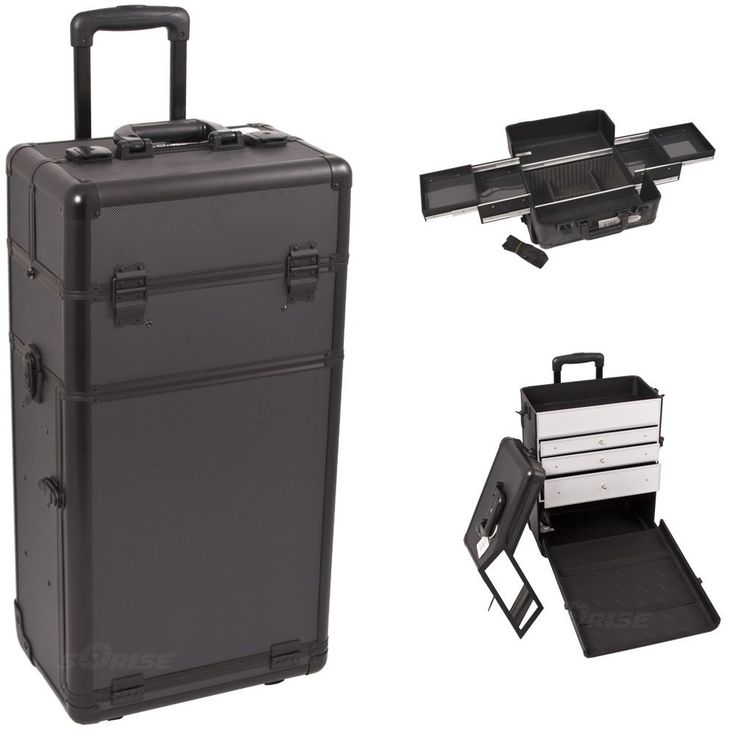 30 inch Black Dot Pattern Professional 2 in 1 Detachable Cosmetics Travel Makeup Trolley w/ 4 Easy Slide Trays   3 Aluminum Drawers -- Read more reviews of the product by visiting the link on the image.