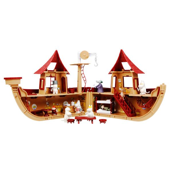 The popular Moomin Ship. The package includes nine characters and a lot of other stuff. The boat is approximately 60cm wide as opened.