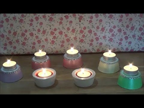 DIY plaster tea-light holders/Φτιάχνω γύψινα κηροπήγια για ρεσώ