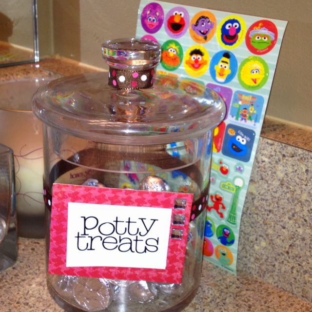 Potty training rewards--use different kinds of candy--bigger than one m and m  Use after she goes