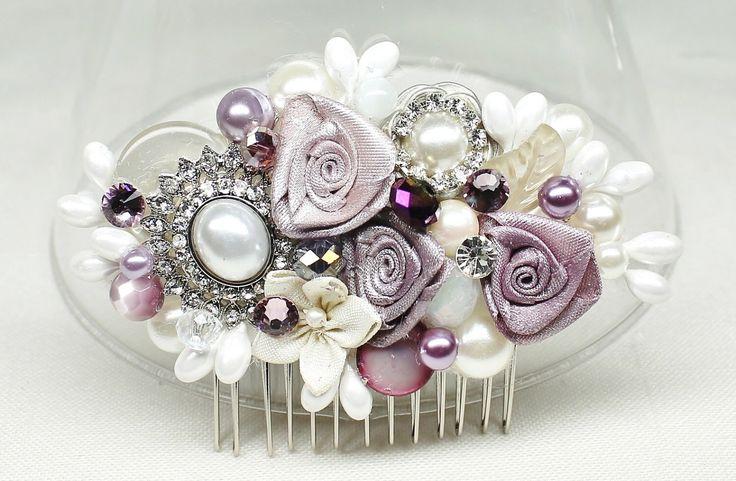 Purple Bridal Hair Comb- Bridal hairpiece- Eggplant Hair Accessory- Amethest Bridal Comb- Purple & Ivory Hair Comb- Wedding Hair Accessories by BrassBoheme on Etsy https://www.etsy.com/listing/172264808/purple-bridal-hair-comb-bridal-hairpiece