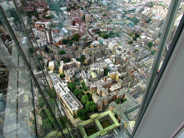 Don't Look Down! - The Shard is the tallest building in western Europe, it's amazing structure and unusual shape looks down over London. This great tourist attraction invites hundreds of tourists from around the world, to the top of it each day. This photo is from the very top of The Shard, if you don't like heights then 'Don't Look Down!'