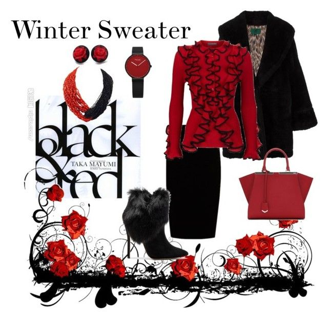 """Winter Sweater in Black & Red"" by teresarussell49 ❤ liked on Polyvore featuring Jean-Paul Gaultier, Jupe By Jackie, Alexander McQueen, Schutz, Fendi and Patricia von Musulin"