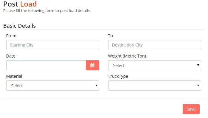 Post your loads using this form.  http://trucksuvidha.com/Post.aspx