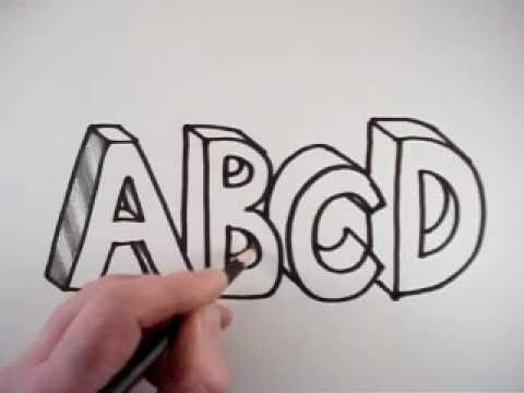 ▶ How to Draw 3D Letters: A B C D - YouTube 2:01 nice!