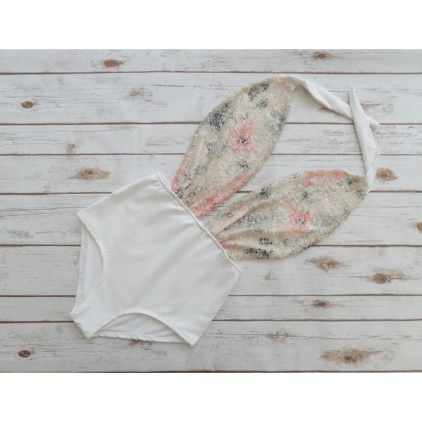 Swimsuit High Waisted Vintage Style Sparkle White Pink Cream Floral... ($58) ❤ liked on Polyvore featuring swimwear, one-piece swimsuits, silver, women's clothing, retro one-piece bathing suits, white one piece swimsuit, white one piece bathing suit, halter one piece swimsuit and sexy one piece swimsuits