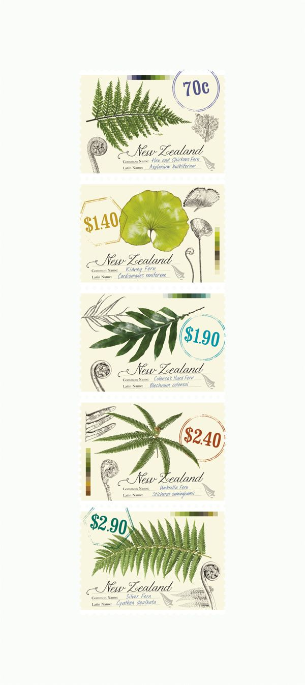 New Zealand Native Ferns - Stamps by Di Fuller, via Behance