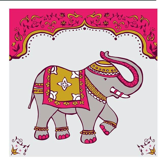 indian elephant design great for greetingscards