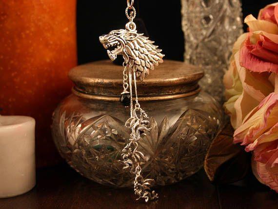 Game of Thrones Car Mirror Charm Direwolf Three Dragons on