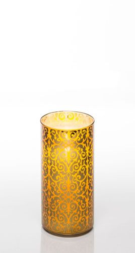 "7"" Scroll Gold Glass Luminary w/ Programmable Timer"