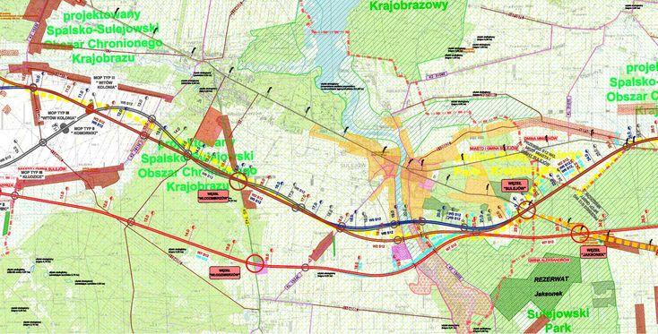 Mapa drogi ekspresowej S12 Piotrków Trybunalski - Opoczno. Odcinek Piotrków Trybunalski - Sulejów
