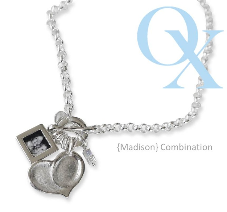 Madison Combination- double fingerprint heart pendant with a double sided small photo pendant and swarovski crystals on our rolo grande chain. www.lovelinx.ca