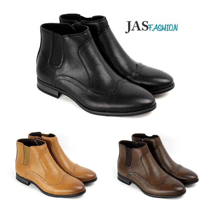 Mens Dress Boots Casual Fashion Ankle Chelsea Lace Up Zip Smart Biker Shoe Size
