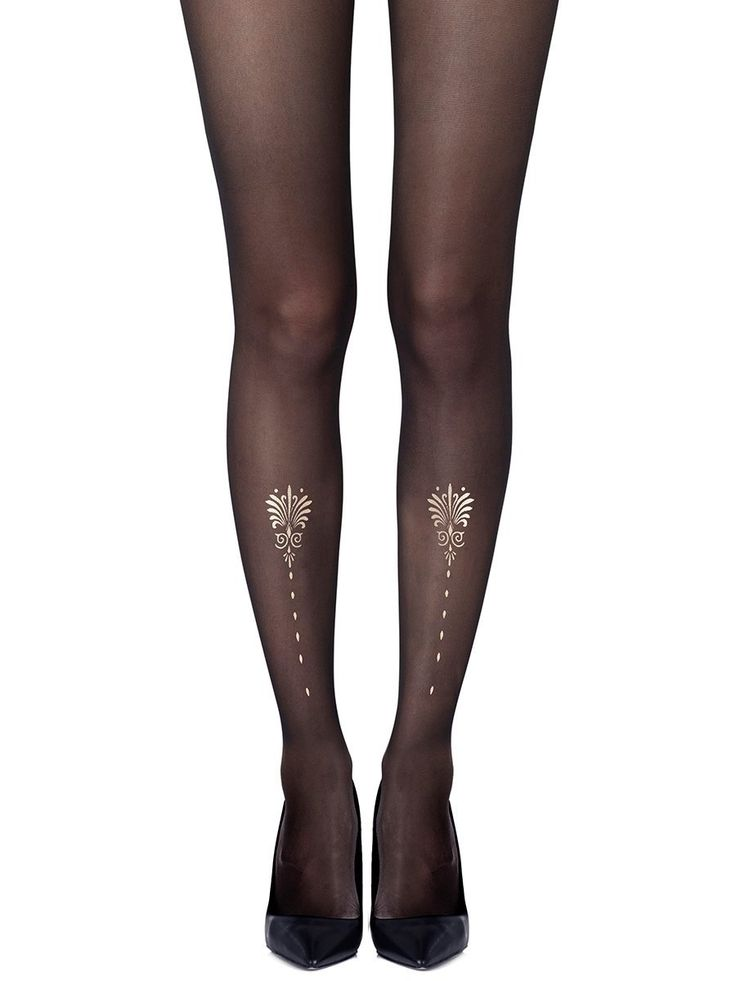 Vine And Dash Gold Tights - Zohara USA. You can't run out of a restaurant unnoticed with the Vine and Dash tights that feature a two-sided vine inspired emblem. #sheertights #opaquetights #outfitideas